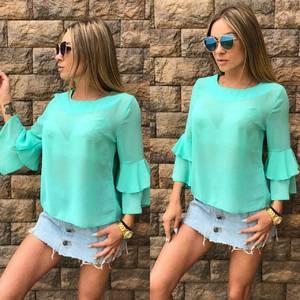 Блуза голубая прозрачная Т6834