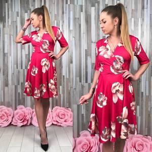 Платье короткое с принтом красное Т8442