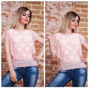 Блуза с цветочным принтом розовая Т7489