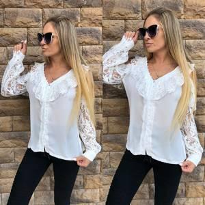 Рубашка белая с кружевом Т5267