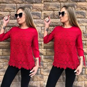 Блуза красная с кружевом Т5270