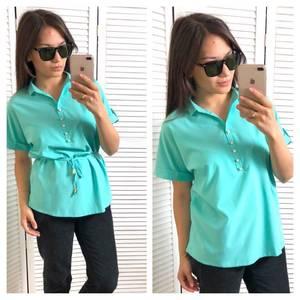 Блуза с коротким рукавом голубая Т4315
