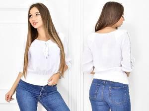 Блуза белая с кружевом Т5434