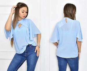 Блуза голубая прозрачная Т5476