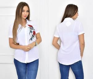 Рубашка белая летняя Т5477