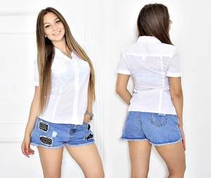 Рубашка белая с коротким рукавом Т6671