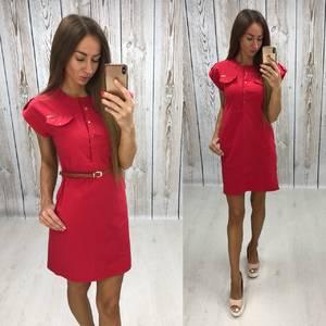 Платье короткое однотонное красное Т6867