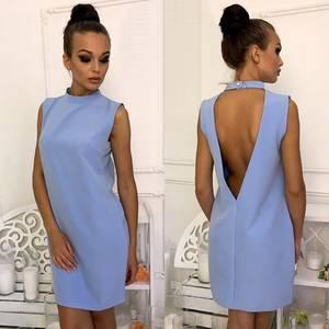 Платье короткое однотонное элегантное Т6007