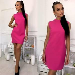 Платье короткое однотонное элегантное Т6008