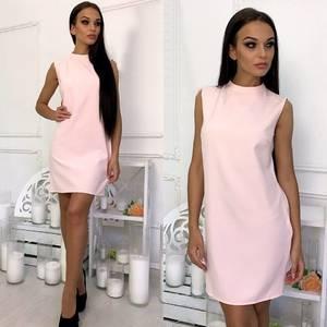 Платье короткое однотонное элегантное Т6009