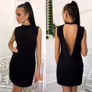 Платье короткое черное элегантное Т6010