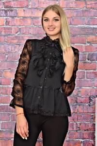 Блуза черная для офиса с кружевом Т5831