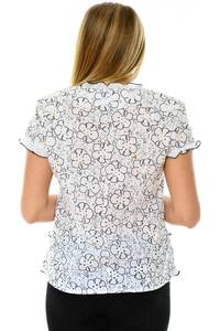 Рубашка белая с коротким рукавом с принтом П3734