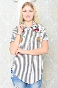 Рубашка белая в полоску с коротким рукавом Р9937