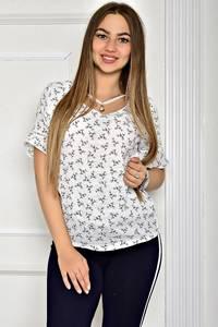 Блуза белая летняя с коротким рукавом Т1915