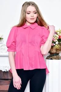 Блуза розовая прозрачная с баской Р8991