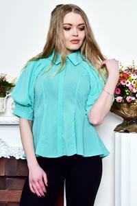 Блуза голубая прозрачная с баской Р8992