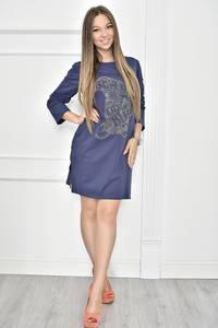 Платье короткое с принтом синее Т7441