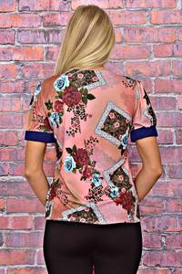Блуза с коротким рукавом с цветочным принтом Т6188