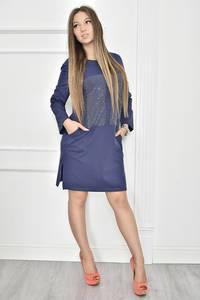 Платье короткое с принтом синее Т7442