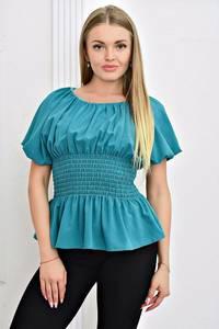 Блуза голубая с коротким рукавом Т4463