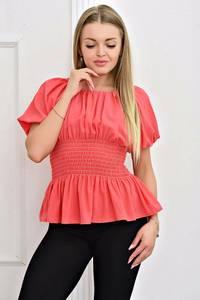 Блуза розовая с коротким рукавом Т4464