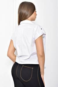 Рубашка белая однотонная с коротким рукавом Т2420
