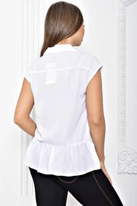 Рубашка белая однотонная с коротким рукавом Т2421