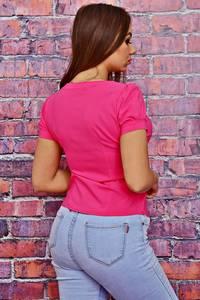 Блуза розовая с кружевом Т4125