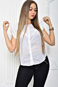 Рубашка белая прозрачная с коротким рукавом Т2429