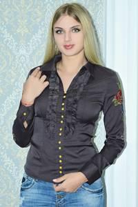 Рубашка однотонная с кружевом Р9788
