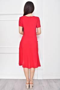 Платье короткое современное красное Т7787
