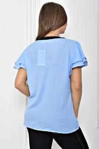 Рубашка синяя прозрачная с коротким рукавом Т2434