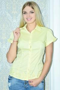 Рубашка прозрачная однотонная с коротким рукавом Р9793