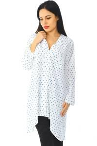 Рубашка-туника белая с длинным рукавом Н5941