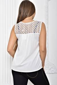 Рубашка белая прозрачная с кружевом Т2440