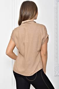 Рубашка однотонная с коротким рукавом Т2446