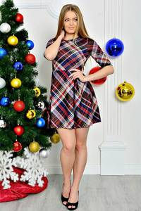 Платье короткое трикотажное нарядное П7800