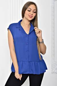 Рубашка синяя однотонная с коротким рукавом Т2451