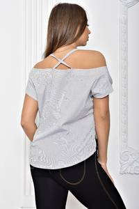 Рубашка в полоску однотонная с коротким рукавом Т2454