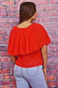 Блуза красная летняя Т4228