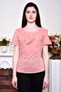 Блуза розовая с бантом с коротким рукавом Р8842