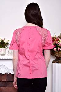Блуза розовая с бантом с коротким рукавом Р8844