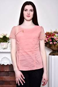Блуза розовая с кружевом с коротким рукавом Р8846