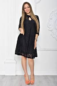 Платье короткое вечернее черное Т2387