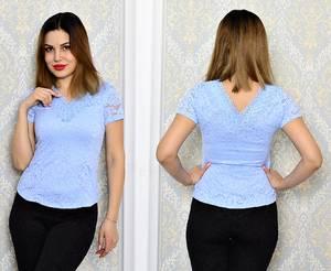 Блуза голубая с кружевом с коротким рукавом Р6339