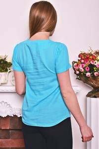 Блуза голубая с коротким рукавом Р8276