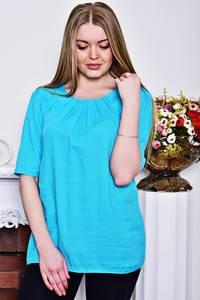 Блуза голубая с коротким рукавом Р8281