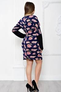 Платье короткое с принтом с длинным рукавом С0021