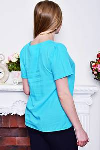Блуза голубая с коротким рукавом Р8283